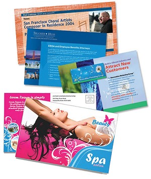 Full color postcards with optional addressing and mailing