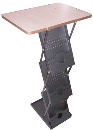 Table top brochure stand with stylish metal case
